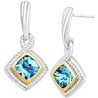 3 1/3 ct Natural Swiss Blue Topaz & 1/4 ct Diamond Earrings Sterling Silver 14KG