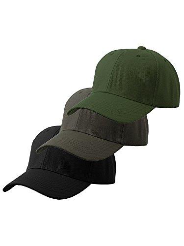 (Men's Plain Baseball Cap Adjustable Curved Visor Hat-3P Black Charcoal Olive)