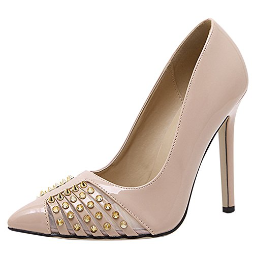 Womens Pointed Stiletto PU Fashion Pumps with Rivets Apricot - 2