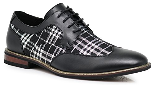 Titan03 Men's Spectator Tweed Plaid Two Tone Wingtips Oxfords Perforated Lace Up Dress Shoes (9 D(M) US, Black) (Stage Wings)
