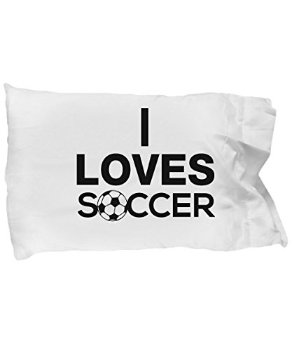 Pillow Covers Design I Loves Soccer for Men Women Boy Girl Gift Pillow Cover Ideas by De Look
