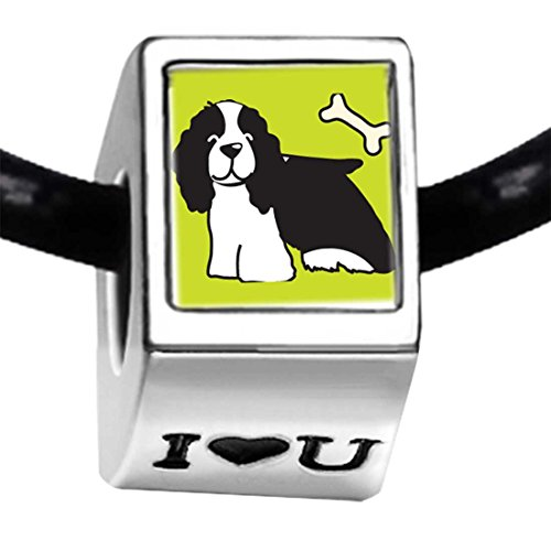 GiftJewelryShop Silver Plated Springer Spaniel Dog Photo I Love You Charm Beads - Springer Charm Spaniel