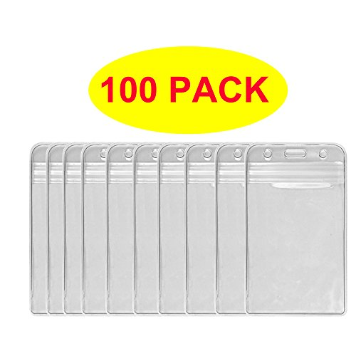 Hosl 100 Pcs Waterproof Clear Plastic Vertical Name Tag