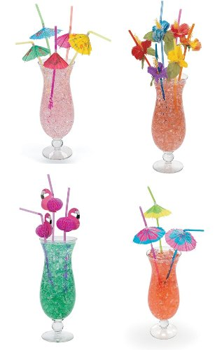 4 Dozen Assorted Tropical Drinking Straws Luau Wedding Hawaiian Umbrella Flamingo Flower - Luau Straws