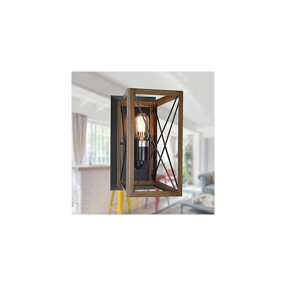 XIPUDA Farmhouse Wall Sconce Rustic Flush Mount Wall Light Fixture Industrial Wall Lighting for Hallway Foyer Bedroom…