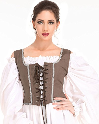 Pirate Wench Peasant Renaissance Medieval Costume Corset Bodice (Small, Light Brown)