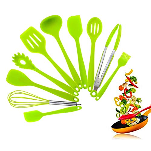 Kitchen Utensils Silicone Heat Resistant Cooking Non-Stick Kitchen Utensil Set 10 Piece Cooking Set Kitchen Tools Turner, Whisk, Spoon,Brush,spatula, Ladle Slotted turner Tongs Pasta Fork(Green) (Green Ladle)