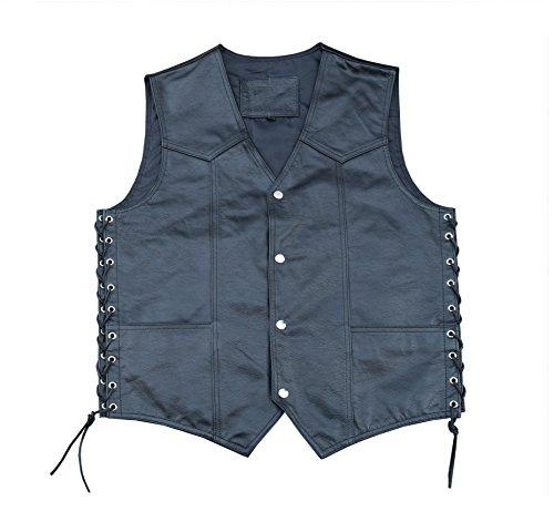 4Fit Men's Black Cowhide Leather Classic Motorcycle Side Laces Biker/Club Vest (L)