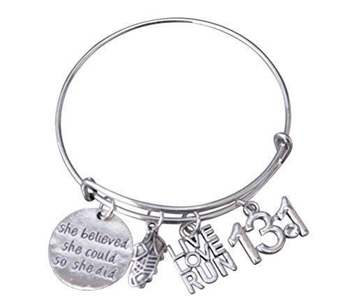 Infinity Collection 13.1 Running Gifts- Half Marathon Runner Charm Bracelet, Running Jewelry, Half Marathon Bracelet for Girls and Women, for -