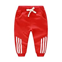 TAOJIAN Baby Boys Girls Sports Leisure Vertical Striped Pants and Kids Casual Trousers (3-4Years, Red)