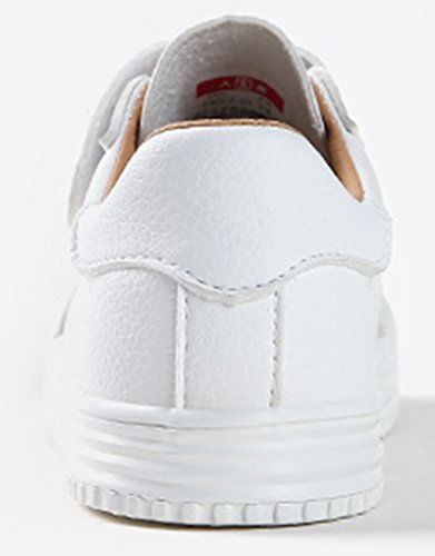 VECJUNIA Jungen Mädchen Atmungsaktiv Runde Zehe Flach Anti-Rutsch-Sohle Alphabet-Logo Trekking Sneaker (Kleine Kinder/Große Kinder) Weiß
