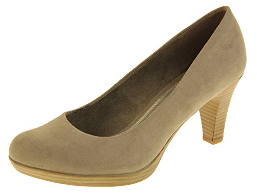 Footwear Studio Ladies Marco Tozzi Mid Heels Womens Court Shoes Taupe