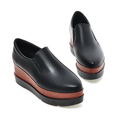 AllhqFashion Damen Rein Weiches Material Hoher Absatz Ziehen auf Pumps Schuhe Schwarz