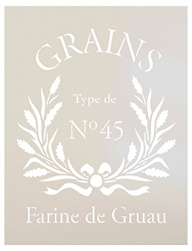 FRENCH GRAIN SACK Stencil by StudioR12 | Reproduction Farine De Gruau Word Art - Reusable Mylar Template | | Use for Painting Pillows DIY Home Decor- Chalk Furniture- Modern Farmhouse | SELECT SIZE ()