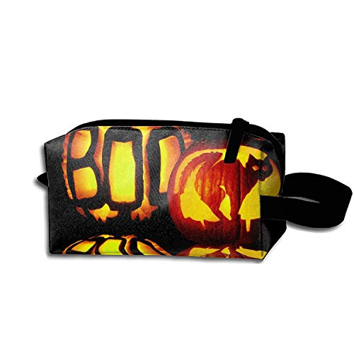 (scakoko Scary Halloween Pumpkins Pen Holder Stationery Pencil Pouch Waterproof Multi-Purpose Storage Tote Tools Nylon Bag Cosmetic Makeup Bags with Zipper and Hanging)