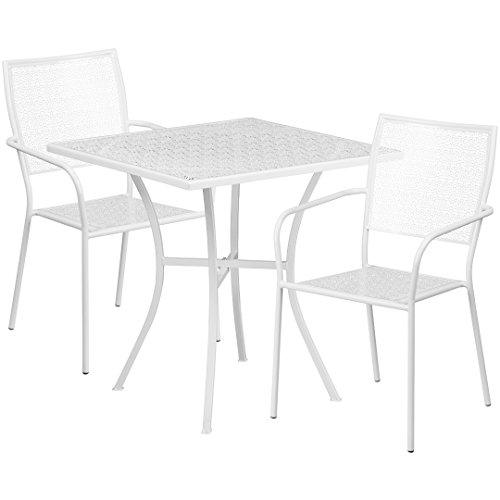 MFO 28'' Square White Indoor-Outdoor Steel Patio Table Set with 2 Square Back Chairs