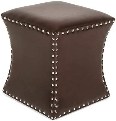Adeco Faux Leather Stylish Hourglass Ottoman Footrest Stool, 15 x 15 x 17, Brown