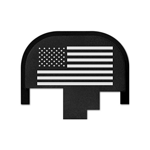 40 Caliber Paintball Gun (Bastion rear slide cover plate for Smith & Wesson S&W M&P 9mm .40 40 cal .357 45 acp full size and compact only, butt plate laser engraved - USA Flag)
