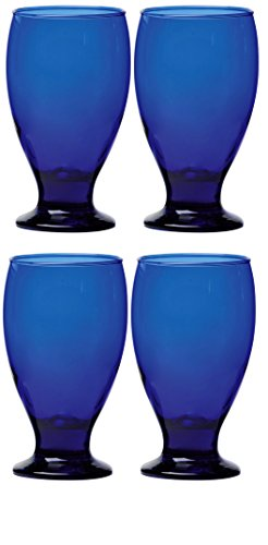 Circleware Uptown Colbalt Glass Drinking Goblets, Set of 4, 12 - Colbalt Blue Glasses