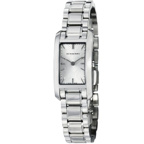 Burberry Check Engraved Rectangle Ladies-small Silver Dial Stainless Steel Watch BU9500