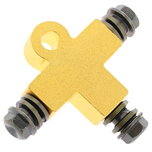 SM SunniMix Hydraulic Brake oil Hose Three-way Pipe Connector/Tee Coupling Tubing Bracket Adapter - Golden: