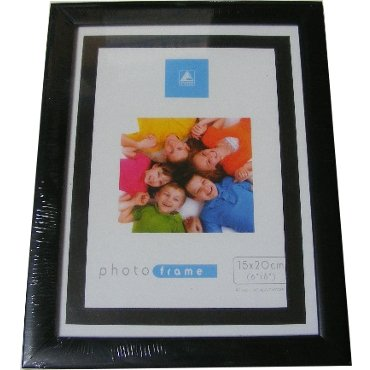 FLAT BLACK WOOD / WOODEN PHOTO FRAME   6x8 / 8x6 INCH (15x20 CM)