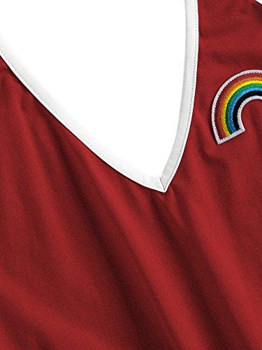 SweatyRocks Women's Sleeveless V Neck Rainbow Patch Contrast Binding Halter Romper Red S by SweatyRocks (Image #2)
