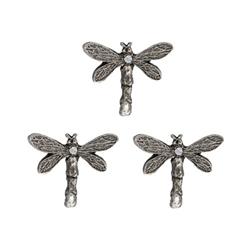 New Item 3 Small Metal Dragon Fly Hooks, Antique Silver