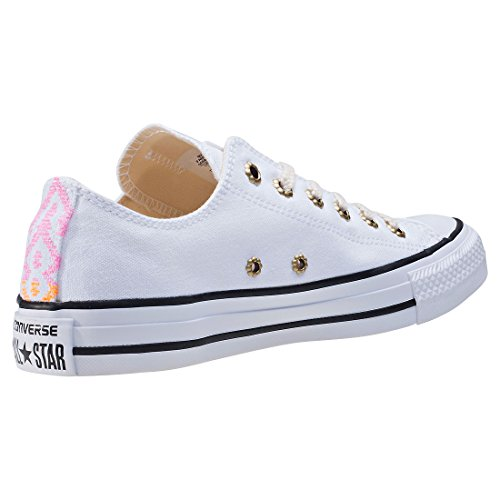 Converse Womens Chuck Taylor All Star Ox Canvas Trainers White Sunset Pink Glow