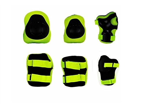 Skating 6 Pcs/Set Kid's Protective Gear Set with Elbow Knee Wrist Pad for Roller Skating Skateboard BMX Scooter Cycling (Green S) for Protection by Wetietir