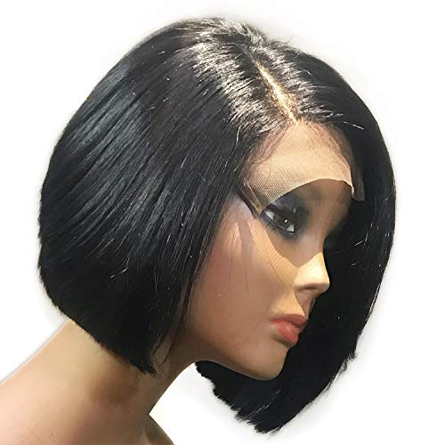 150% Density Short Bob Wig Brazilian Remy Hair 4X4 Lace Wig Straight Lace Front Human Hair Wigs For Black Women,14inches ()
