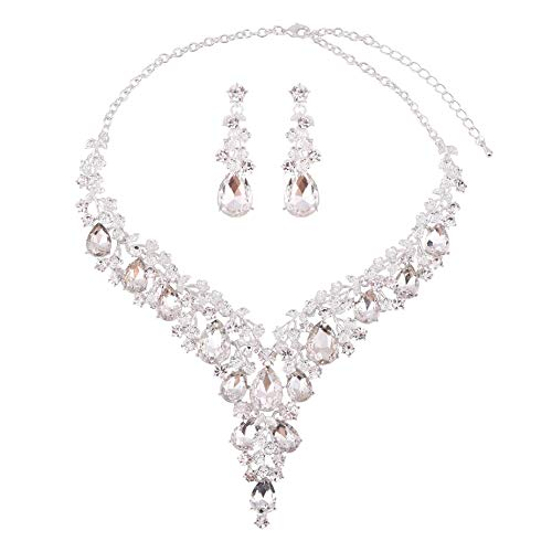 Paxuan Silver Gold Wedding Bridal Bridesmaid Austrian Crystal Rhinestone Jewelry Sets Statement Choker Necklace Drop Dangle Earrings Sets for Wedding Party Prom (White Crystal)