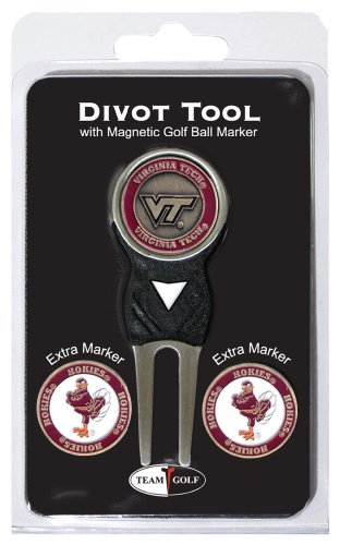 Team Golf NCAA Virginia Tech Hokies Divot Tool with 3 Golf Ball Markers Pack, Markers are Removable Magnetic Double-Sided Enamel