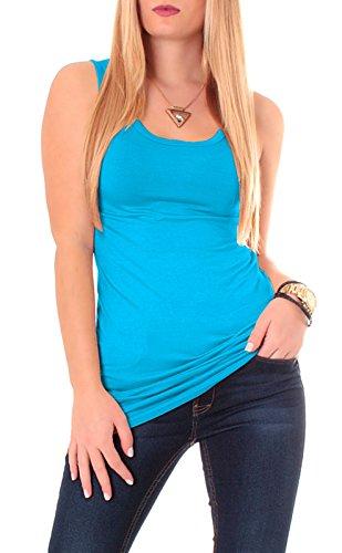 Camiseta espalda nadadora de algodón, camiseta de tirantes, de un color, básica, larga turquesa