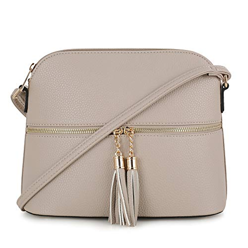 SG SUGU Lightweight Medium Dome Crossbody Bag with Tassel   Zipper Pocket   Adjustable Strap ()