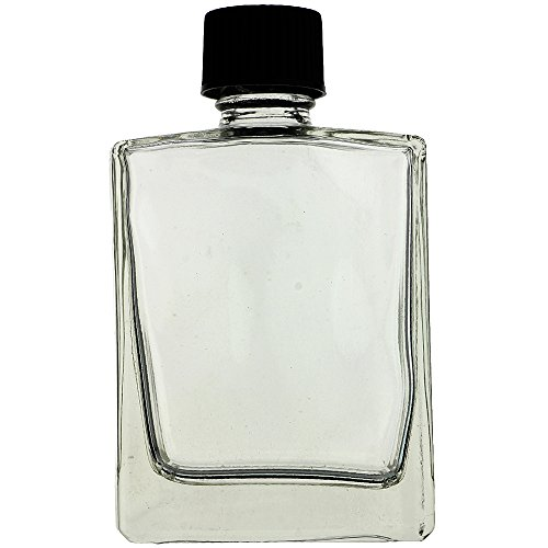 72 PIECES 2 OZ 60 ml RECTANGULAR REFILLABLE CLEAR GLASS BOTTLE WITH BLACK CAP (PERFUMES, OILS, AROMATIC BLENDS, BATH AND BODY) by AURA VARIETY
