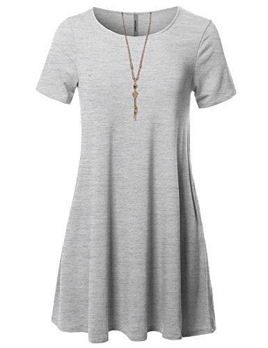 Tunic Grey Loose Awesome21 Dress Casual Fit Stretchy Short Women's Aawdrs0007 Sleeve Heather 0HFZH4x