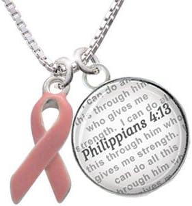 Bible Verse Philippians 4:13 Glass Dome Bangle Bracelet Silvertone Inspirational Pink Ribbon