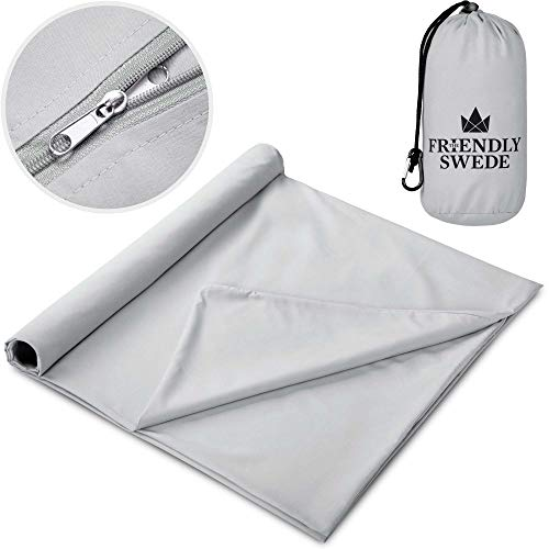 The Friendly Swede Sleeping Bag Liner - Soft Microfiber Travel and Camping Sheet, with Stuff Sack (Microfiber Cotton Feel - Grey)