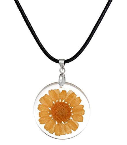 (stylesilove Womens Pressed Natural Daisy Flower Resin Pendant Necklace (White with Leather Rope) (White with Leather Rope) (Yellow with Leather Rope))