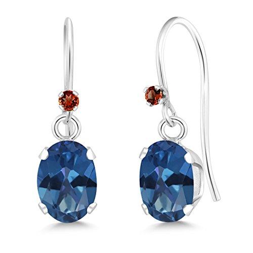Gem Stone King 1.93 Ct Oval Royal Blue Mystic Topaz Red Garnet 925 Sterling Silver Earrings