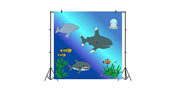 Baocicco 6.5x6.5ft Shark Party Backdrop Underwater Cartoon Sharks Seaweeds Tropical Fish Sea Photography Background Aquarium Summer Party Baby Shower Kids Party Baby Boys Girls Portrait Studio Video