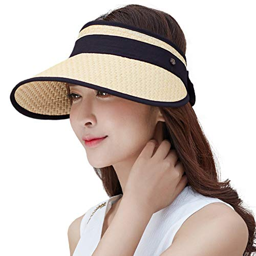 Siggi Wide Brim Straw Visor Cap for Women Packable Summer Sun Hat w/Detachable Face Mask Neck Flap SPF50 Beige