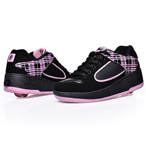SIKAINI LED Zapatillas Deporte Patín ruedas Luminoso Formadores Niños LED con Un Adulto Rueda Intermitente Zapatos Pink-801