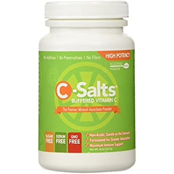 C-Salts® GMO FREE Buffered Vitamin C Powder (1000mg - 4000mg) | 40+ Servings, 1/2 lb (8oz) | The Highest Quality, Best Value Mega Dose/High Dose Form Of Vitamin C Supplement On The Market Today