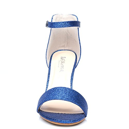ShuWish UK PAM Blue Glitter Ankle Strap Barely There High Heel Sandals 3o4JZOW8