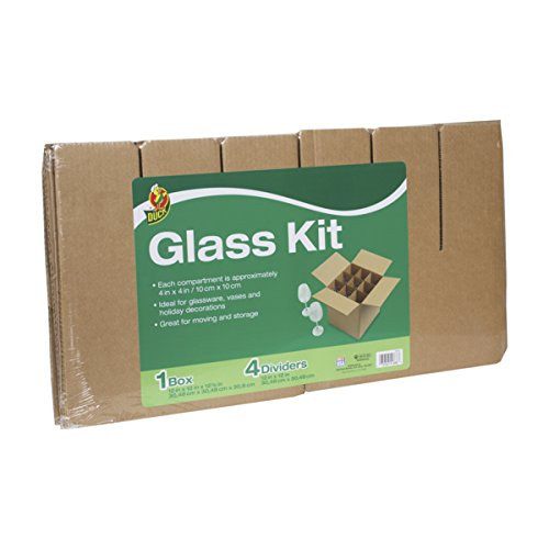 Duck Brand Glass Kit, Includes 4 Corrugate Dividers and One 12 x 12 x 12 Inch Box (283613) (Box Corrugated Duck)