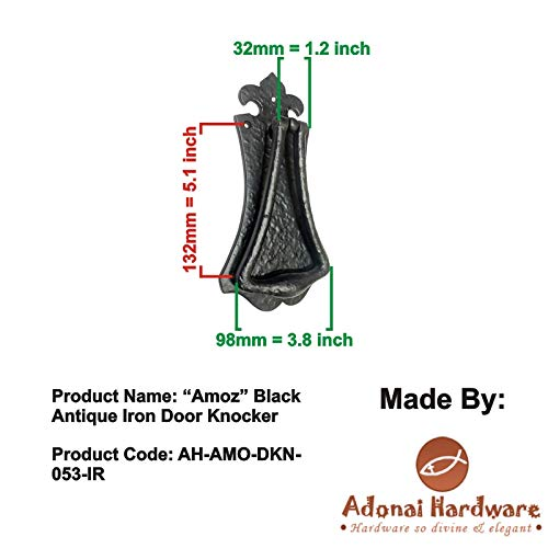 Adonai Hardware Amoz Black Antique Iron Door Knocker