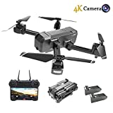HSCOPTER Foldable Drone with WiFi FPV Live Video 4K Camera and 720P Optical Flow Positioning Camera,RC Drone Quadcopter for Adults Kids,Altitude Hold/Headless Mode/Trajectory Flight/APP Control
