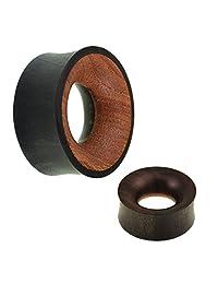 Chic-Net Tribal Wood Tunnel black-brown iron wood teak texture textured wood hand carved tunnel plug